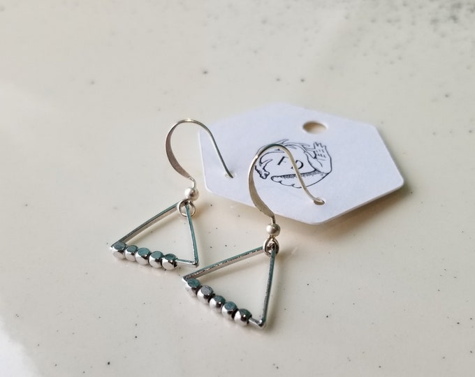 Beaded Triangle Earrings - Sterling Silver - Fierce Deer