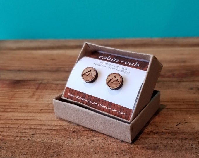 Mountain - Laser Etched Wooden Earrings