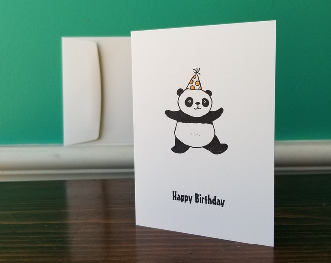 Happy Birthday Panda - Blank Greeting Card With Envelope - Big City Stamper