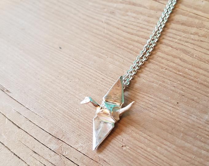 Fine Silver Origami Crane Necklace - Handmade in Toronto