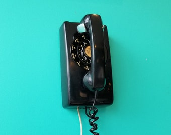 Black Northern Electric Wall Phone Wired and Working