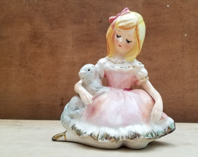 Vintage Hand Painted Young Lady and Her Kitty