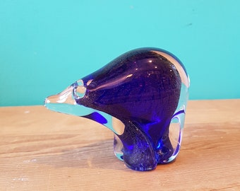 Blue Art Glass Bear