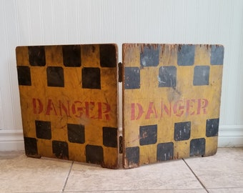 Danger - Folding Wooden Sign