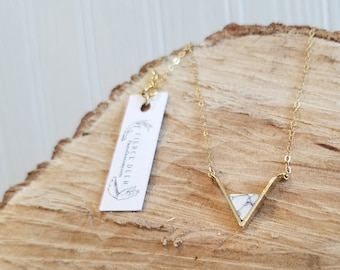 Marble Resin and 18k Gold Necklace