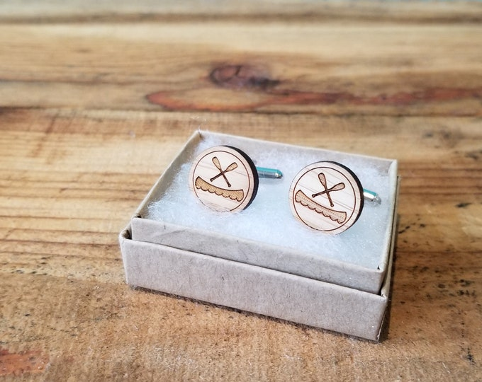 Canoe - Laser Etched Wooden Cufflinks