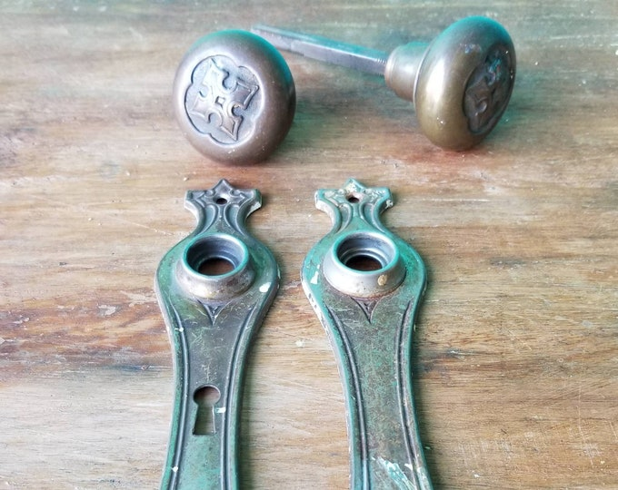 Antique Brass Floral Door Knob Set