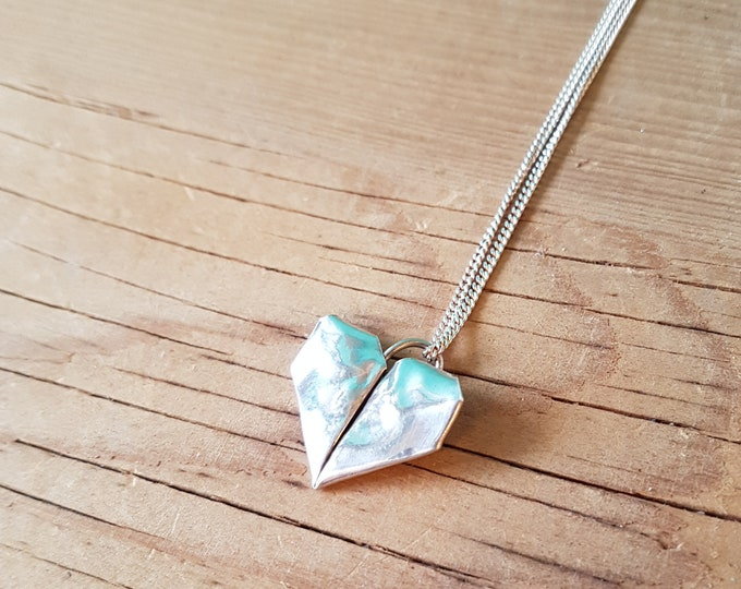 Fine Silver Origami Heart Necklace - Handmade in Toronto