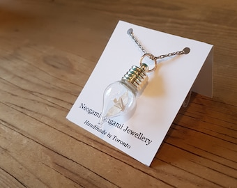 Origami Crane in a Bottle Necklace - Handmade in Toronto - Pure White