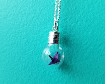 Handfolded Origami Crane Necklace - Neogami Origami Jewellery