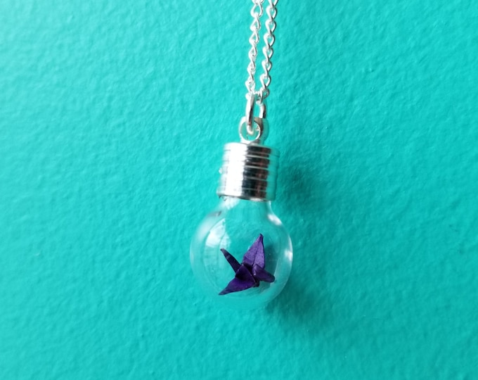 Handfolded Origami Crane Necklace - Neogami Origami Jewellery