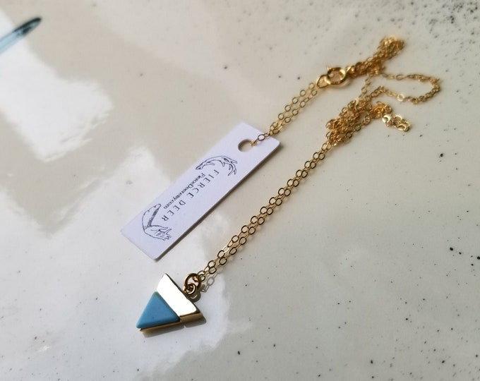 Turquoise Resin and 18k Gold Necklace