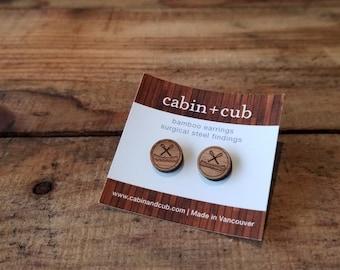 Canoe - Laser Etched Wooden Earrings