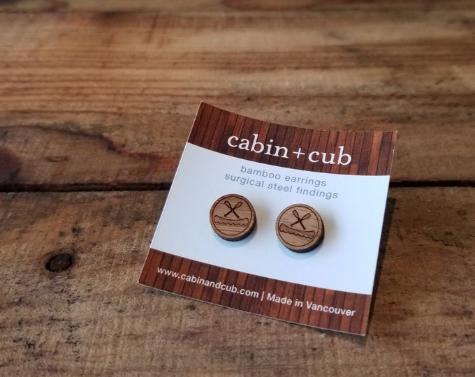 Canoe - Laser Etched Wooden Earrings