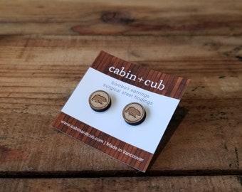 Bear- Laser Etched Wooden Earrings
