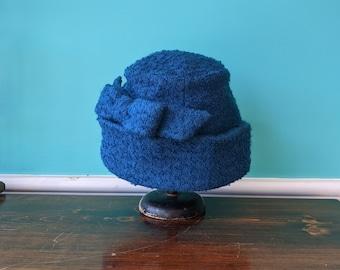 1940's Sapphire Blue Gambler Style Hat