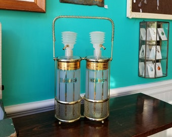 Vintage Glass Pump-Style Decanter Set With Brass Caddy
