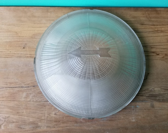 Vintage Industrial Pressed Glass Safety Lampshade