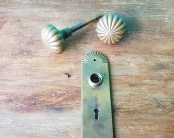 Warm Brass Antique Door Knob Set