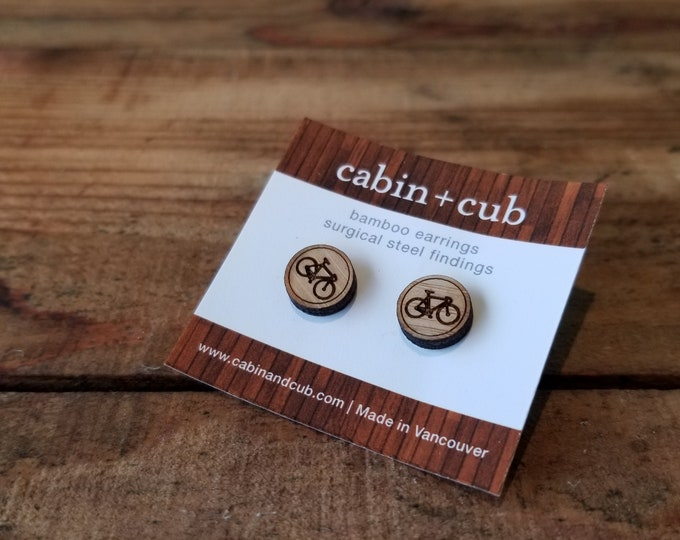 Bike- Laser Etched Wooden Earrings