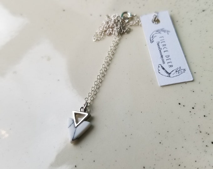 White Marble Resin and Sterling Silver Necklace