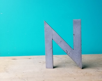 Salvaged Metal Signage Letter N