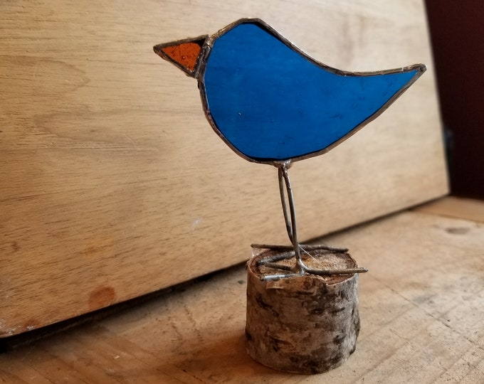 Stained Glass Bird on a Log