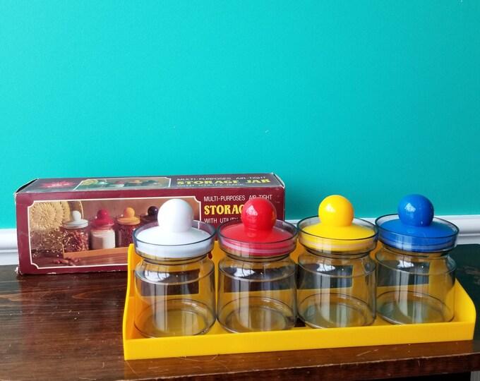 Vintage Plastic Fantastic Kitchen Canister Set - With Original Box