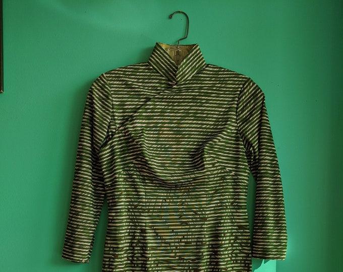 Handmade 1960s Emerald Green Psychedelic Pattern Dress