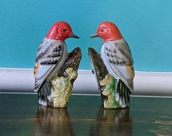 Vintage  Ceramic Woodpecker Salt and Pepper Shaker Set