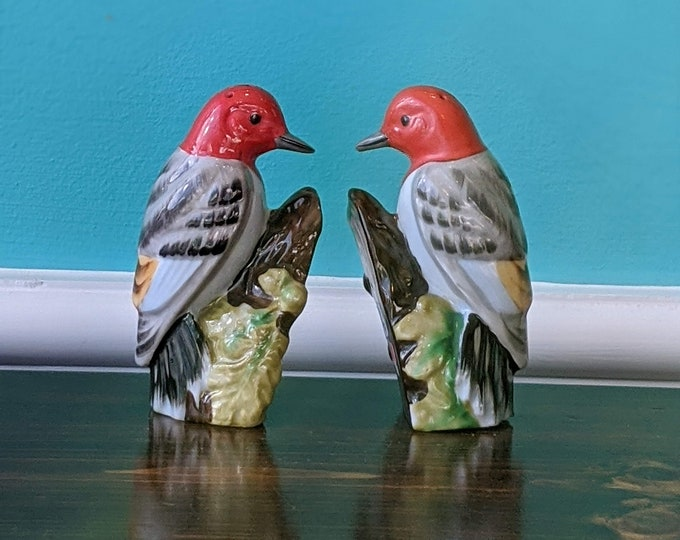 Vintage  Ceramic Woodpecker Salt and Pepper Shaker Set
