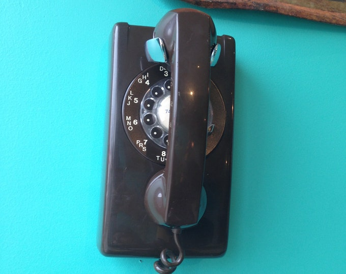 Chocolate Brown Northern Telecom Wall Hanging Rotary Phone