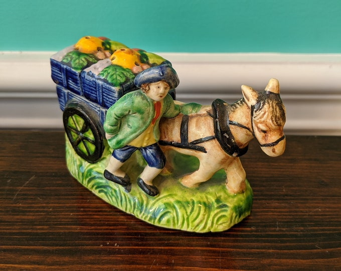Vintage Horse and Cart Salt and Pepper Shaker Set