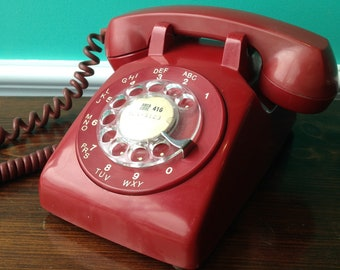 Northern Electric Model 500 Ruby Red Rotary Telephone