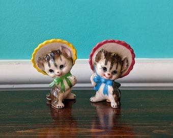 Vintage Kitties in Bonnets Salt and Pepper Shaker Set