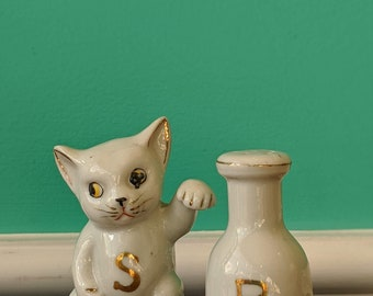 Vintage  Ceramic Kitty and Milk Salt and Pepper Shaker Set