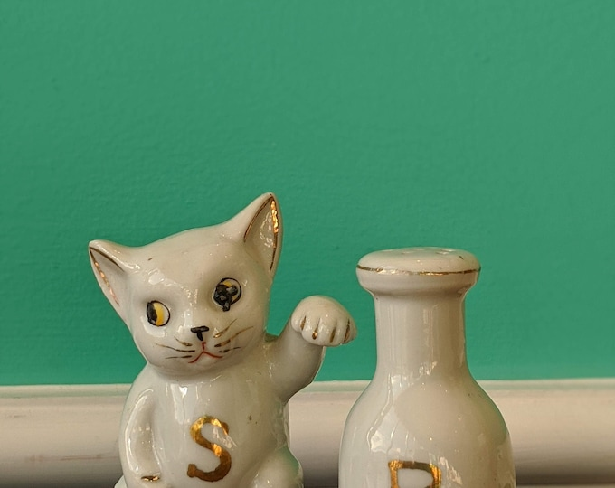 Vintage  Ceramic Kitty and Milk Salt and Pepper Shaker Set