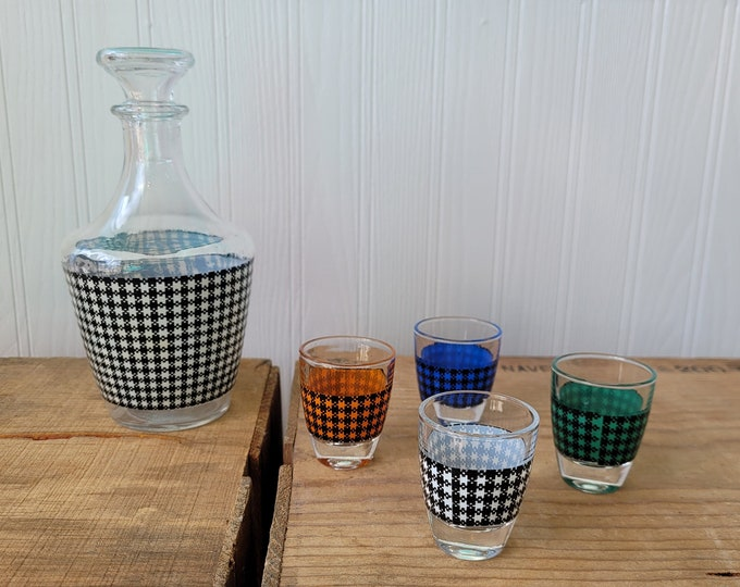 Mid Century Houndstooth Decanter & Shot Glass Set Made in France