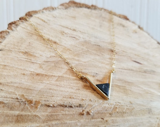 Black Marble Resin and 18k Gold Necklace