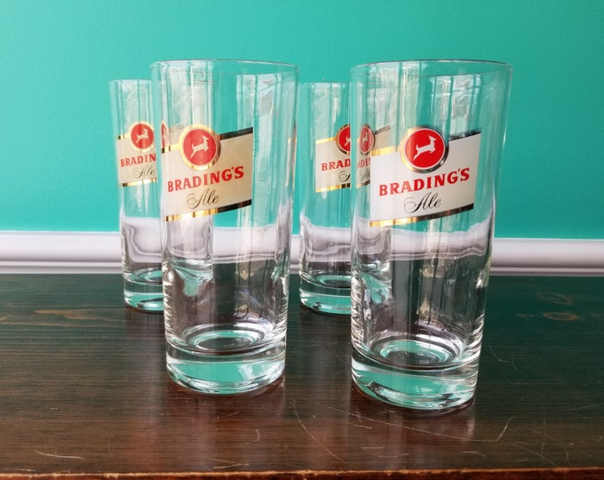 Set of 4 Brading's Ale Beer Glasses