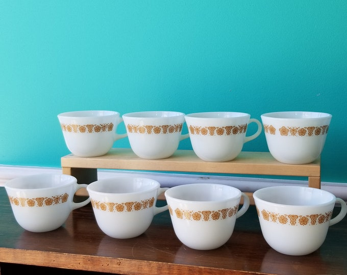 Set of Eight Pyrex Butterfly Gold Milk Glass Coffee Cups