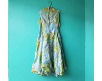 Floral Summer Party Dress - 1960s Custom Made Dress