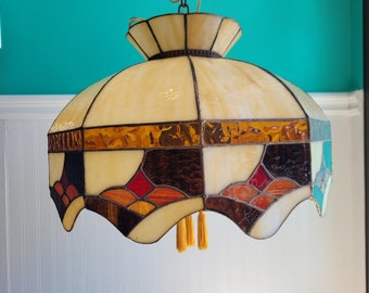 1960's Stained Glass Pendant Ceiling Light