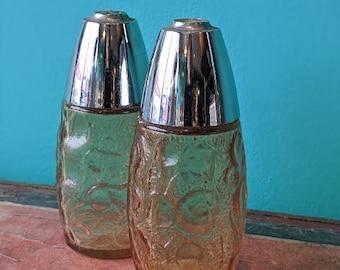 Vintage Amber and Silver Salt and Pepper Shaker Set