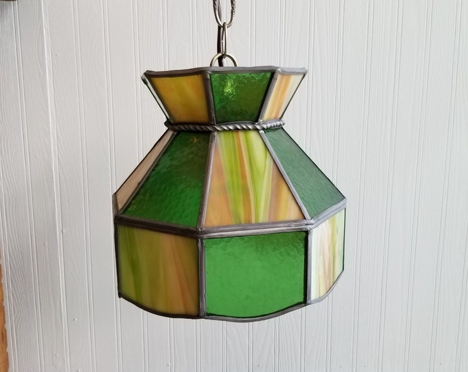 Stained Glass Small Green Pendant Lamp