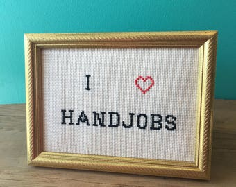 Crassstitches -I <3 Handjobs - Handmade in Toronto