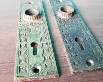 Antique Brass Door Lock Plate Set