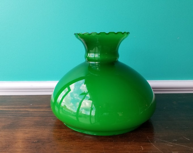 Vintage Green & White Cased Glass Shade