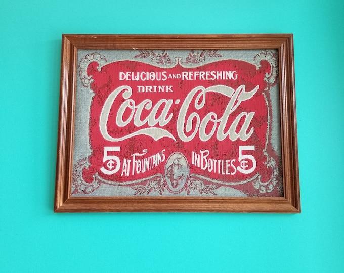 Vintage Framed Coca-Cola Woven Tapestry