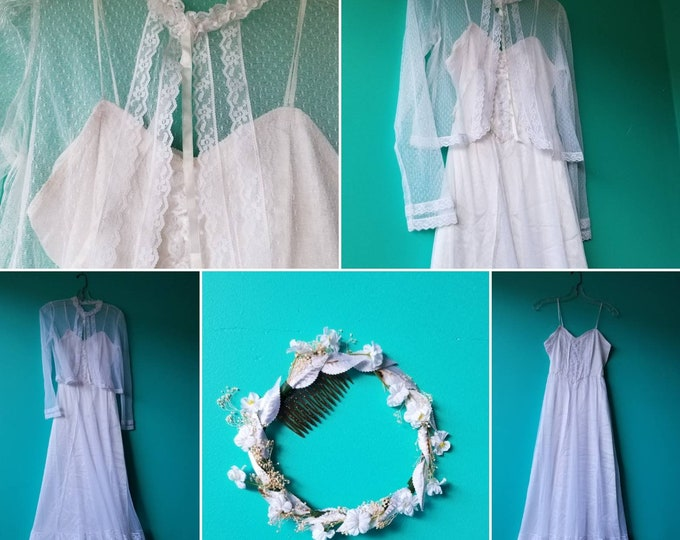 Featured listing image: Vintage Lace Wedding Dress With Cape and Flower Crown